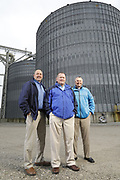 SHOT 10/29/18 9:50:17 AM - Sunrise Cooperative is a leading agricultural and energy cooperative based in Fremont, Ohio with members spanning from the Ohio River to Lake Erie. Sunrise is 100-percent farmer-owned and was formed through the merger of Trupointe Cooperative and Sunrise Cooperative on September 1, 2016. Photographed at the Clyde, Ohio grain elevator was George D. Secor President / CEO and John Lowry<br /> Chairman of the Board of Directors with  CoBank RM Gary Weidenborner. (Photo by Marc Piscotty © 2018)