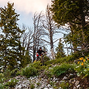 Jeff Brines rides the new Hightower LT from Santa Cruz Bicycles. On the Bootpack Trail off of Teton Pass.