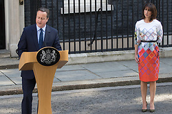 Downing Street, London, June 24th 2016. British Prime Minister David Cameron appears before the world's press gathered in Downing Street and announces that he will step aside with a new Prime Minister in place before the Party Conference, after the country votes to leave the European Union. PICTURED: