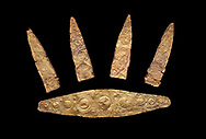 Gold Mycenaean diadem with leaf shaped plates from Grave I, Grave Circle A, Myenae, Greece. National Archaeological Museum Athens. Cat No 184, 185. 16th century BC. Black Background .<br /> <br /> If you prefer to buy from our ALAMY PHOTO LIBRARY  Collection visit : https://www.alamy.com/portfolio/paul-williams-funkystock/mycenaean-art-artefacts.html . Type -   Athens    - into the LOWER SEARCH WITHIN GALLERY box. Refine search by adding background colour, place, museum etc<br /> <br /> Visit our MYCENAEN ART PHOTO COLLECTIONS for more photos to download  as wall art prints https://funkystock.photoshelter.com/gallery-collection/Pictures-Images-of-Ancient-Mycenaean-Art-Artefacts-Archaeology-Sites/C0000xRC5WLQcbhQ