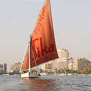A felucca sails on the River Nile. This is a popular tourist activity in the Egyptian capital, Cairo.
