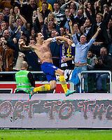 Solna 2012-11-14 Football Friendly Game Sweden-England :  .Sweden 10 Zlatan Ibrahimovic celebrating his fourth goal.(Photo: Kenta J?nsson / Pic-Agency.com) Keyword: Football , Friendly Game , Sweden , England , jubel gl?dje lycka glad happy .