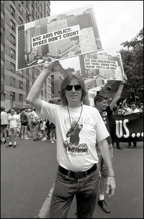 """Bill Monaghan Rod Sorge of ACT UP NY, on June 24, 1989, the 20th anniversary of the Stonewall riots, participating in a renegade march up 6th avenue to Central Park. Themed, """"In The Tradition"""", this march followed the same route as the original march 20 years ago and was designed as a rebuke to the corporatization of the gay pride parade."""
