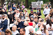 Demonstrators are seen gathering during the Freedom protest on October 23, 2020 in Melbourne, Australia. Freedom protests are being held in Melbourne in response to the governments COVID-19 restrictions and continuing removal of liberties despite new cases being on the decline. Victoria recorded a further 1 new cases overnight along with no deaths recorded.(Photo by Mikko Robles/Speed Media)