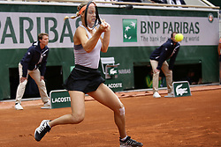 May 28, 2019 - Paris, France - Anna Karolína Schmiedlová of Slovakis plays against Naomi Osaka of Japan in the Round of 128 on Philippe Chatrier court in Roland Garros tournament in Paris, France, on 28 May 2019. (Credit Image: © Ibrahim Ezzat/NurPhoto via ZUMA Press)