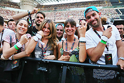 With a double sold out gig for Chris Martin and Coldplay in Milano's Meazza stadium (in total: 120.000 people) the british band confirm Italy as a favourite country. 03 Jul 2017 Pictured: Coldplay fans. Photo credit: Bruno Marzi / MEGA TheMegaAgency.com +1 888 505 6342