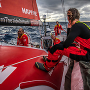 Leg 9, from Newport to Cardiff, day 02 on board MAPFRE, Sunset, Willy, robb, Juan, Xabi and Sophie on deck,. 21 May, 2018.