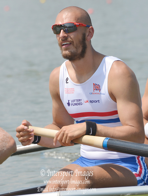 Chungju, South Korea.  GBR M8+ lane 3  move away from the start, on the second day of the 2013 FISA World Rowing Championships, Tangeum Lake International Regatta Course. 03:38:05  Monday  26/08/2013 [Mandatory Credit. Peter Spurrier/Intersport Images]<br /> <br /> Mo SHIBI