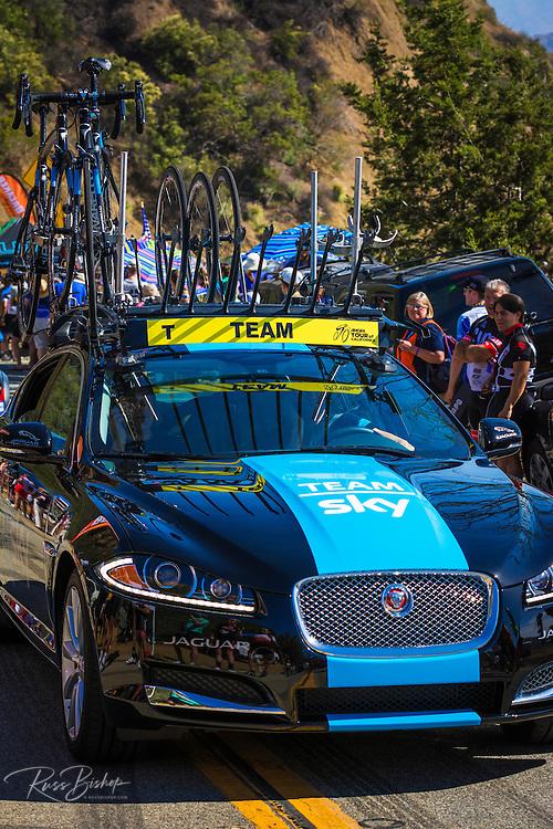 Team car at the Amgen Tour of California, Santa Monica Mountains, California USA