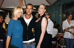 Left to right, KIMBERLEY STEWART, CALUM BEST and AMY SACCO at a party to celebrate the launch of her book 'Cocktails' held at Sanderson, 50 Berners Street, London W1 on 10th July 2006.<br />
