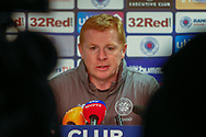 Interim Celtic Manager Neil Lennon during the post match press conference following the Ladbrokes Scottish Premiership match between Rangers and Celtic at Ibrox, Glasgow, Scotland on 12 May 2019.