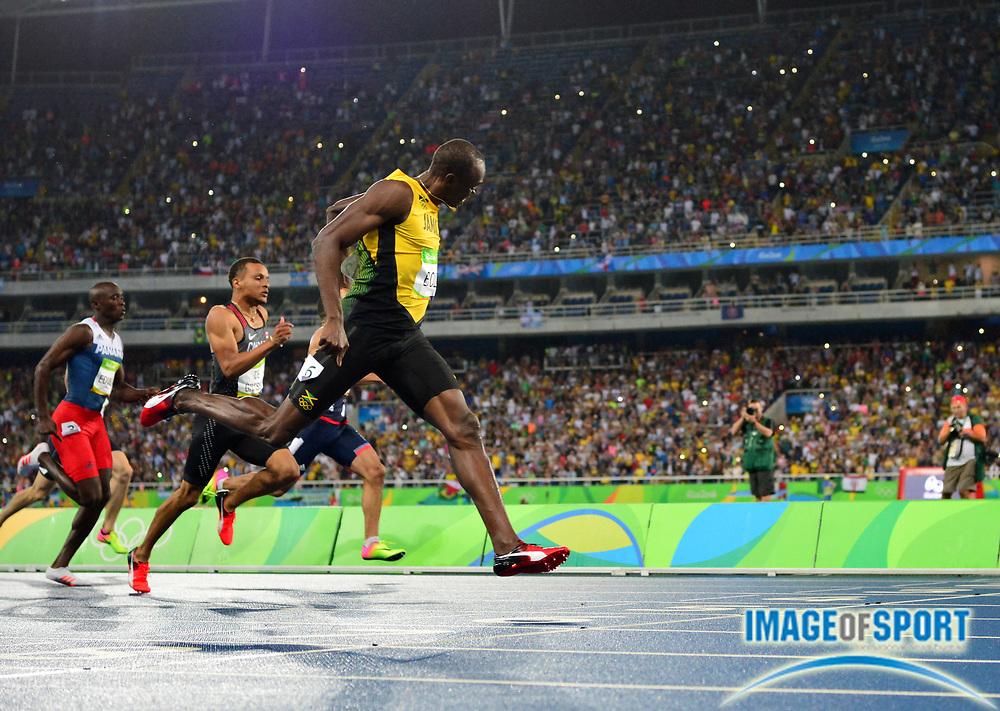 Aug 18, 2016; Rio de Janeiro, Brazil; Usain Bolt (JAM) wins the 200m in 19.78 during the 2016 Rio Olympics at Estadio Olimpico Joao Havelange.