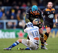 Wasps captain James Haskell takes on Daniel Kirkpatrick of Castres Olympique - Photo mandatory by-line: Patrick Khachfe/JMP - Mobile: 07966 386802 14/12/2014 - SPORT - RUGBY UNION - High Wycombe - Adams Park - Wasps v Castres Olympique - European Rugby Champions Cup