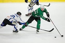 Anej Kujavec of SZ Olimpija faulted by Christian Borgatello of Broncos during ice hockey match between HK SZ Olimpija and WSV Sterzing Broncos Weihenstephan (ITA) in Round #12 of AHL - Alps Hockey League 2018/19, on October 30, 2018, in Hala Tivoli, Ljubljana, Slovenia. Photo by Vid Ponikvar / Sportida