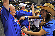 5 APR 2008: Bands, cheerleaders and fans during semifinal game of the 2008 NCAA Final Four Division I Men's Basketball championships held at the Alamodome in San Antonio, TX.  Kansas defeated North Carolina 84-66 to advance to the championship game.  Brett Wilhelm/NCAA Photos