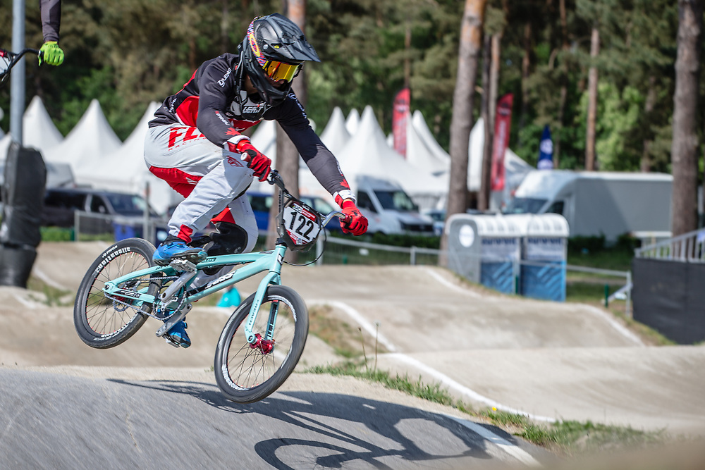 #122 (TOUGAS Alex) CAN during practice at Round 5 of the 2018 UCI BMX Superscross World Cup in Zolder, Belgium