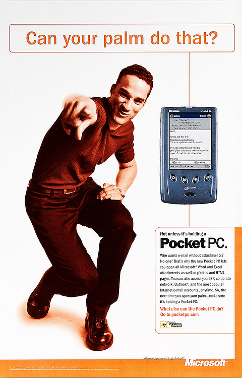 Microsoft Pocket PC ad. Man pointing at viewer.