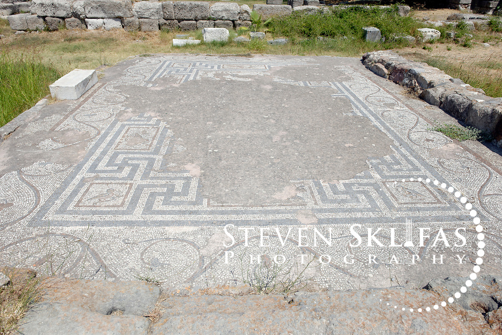 Kos Town. View of a floor mosaic from the Sanctuary of Aphrodite ruins dating from the 2nd century BC in the eastern Archeological zone. Kos is part of the Dodecanese island group and birthplace of the ancient physician and father of medicine, Hippocrates.