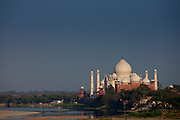 The Taj Mahal view and Yamuna River at sunset from Agra Fort, Khas Mahal Palace, India