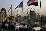 Rooftop restaurant of a hotel overlooking the Al Fath Mosque in central Cairo, Egypt.