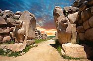 Photo of the Hittite releif sculpture on the Lion gate to the Hittite capital Hattusa 6
