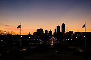 21 DECEMBER 2020 - DES MOINES, IOWA: Looking west towards downtown Des Moines at sunset. Des Moines is the capital and largest city in Des Moines. The city has a population of about 215,000 and was established in May, 1843.   PHOTO BY JACK KURTZ