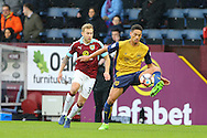 Zac Vyner of Bristol City controls the ball under pressure from Scott Arfield of Burnley. The Emirates FA cup 4th round match, Burnley v Bristol City at Turf Moor in Burnley, Lancs on Saturday 28th January 2017.<br /> pic by Chris Stading, Andrew Orchard Sports Photography.