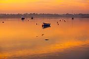 Boats at moorings River Deben in golden light of winter sunset, Ramsholt, Suffolk, England