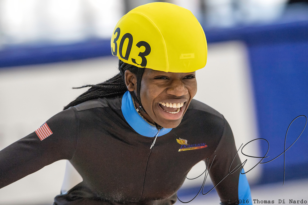 December 17, 2016 - Kearns, UT - Maame Biney reacts to winning during US Speedskating Short Track Junior Nationals and Winter Challenge Short Track Speed Skating competition at the Utah Olympic Oval.