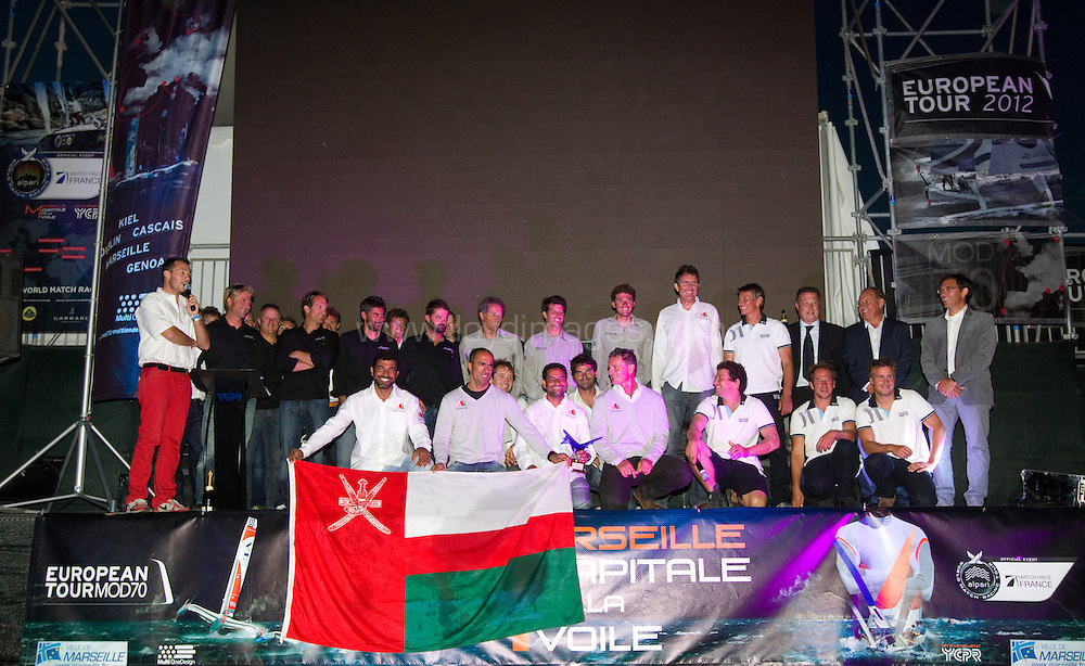 24th September, 2012. Images showing the winners of the MOD70 European Tour, Musandam-Oman Sail, skippered by Sidney Gavignet, with the other teams of the race. Marseille, France...Credit: Lloyd Images.