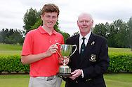 Mark McKinstry (Cairndhu) winner of the Connacht Boys U18 Open, Pictured with Connacht Branch Chairman Jim McGovern, Roscommon Golf Club, Roscommon, Co Roscommon.<br /> Picture: Golffile \ Fran Caffrey