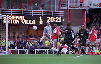 Patrick Vieira (Arsenal) is unable to direct the ball into the net. Arsenal v Aston Villa. FA Premiership, 14/10/00. Credit: Colorsport.