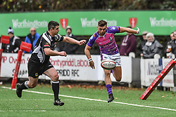 Pontypridd's Lewis Williams kicks ahead - Mandatory by-line: Craig Thomas/Replay images - 30/12/2017 - RUGBY - Sardis Road - Pontypridd, Wales - Pontypridd v Bedwas - Principality Premiership