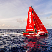 Leg 4, Melbourne to Hong Kong, day 16 on board MAPFRE, Drone shot during the sun rise. Photo by Ugo Fonolla/Volvo Ocean Race. 17 January, 2018.