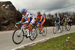 25 May 2008.91st Giro d'Italia.Stage 15 : Arabba - Passo Fedaia / Marmolada.VALJAVEC Tadej (SLO) ag2r - La Mondiale.MENCHOV Denis (RUS) Rabobank, on Passo Giau.Photo : Yuzuru SUNADA .copyright: SPORTIDA / Grazia Neri / Yuzuru SUNADA