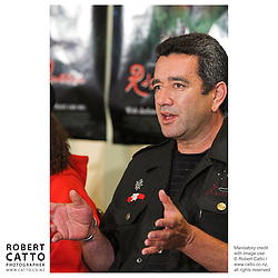 Producer Tainui Stevens answers questions at the press conference before the premiere of the film River Queen in Wanganui, New Zealand.<br />