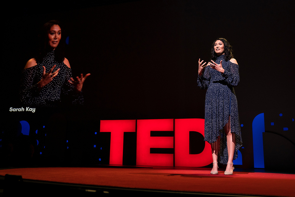 Sarah Kay speaks at TED2019: Bigger Than Us. April 15 - 19, 2019, Vancouver, BC, Canada. Photo: Bret Hartman / TED