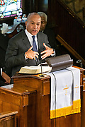 Democratic presidential hopeful Gov. Deval Patrick of Massachusetts addresses parishioners at the historic Mother Emanuel AME Church January 1, 2020 in Charleston, South Carolina. The service celebrated Emancipation Day, marking the abolition of slavery in the United States.