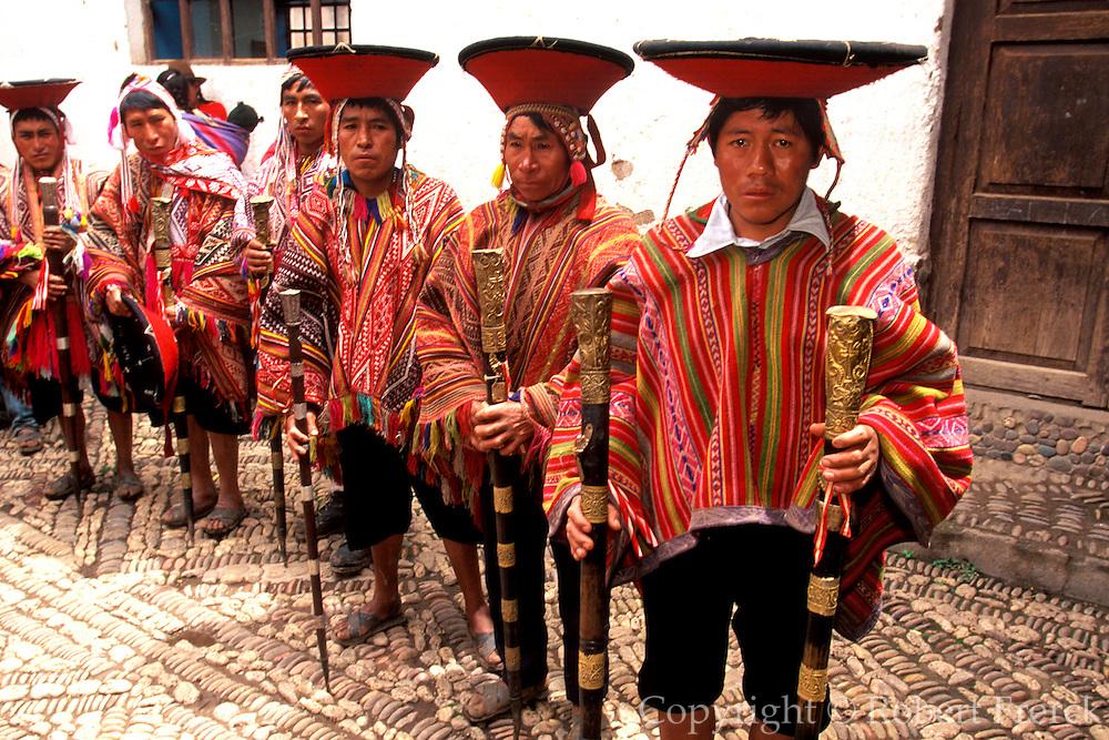 PERU, URUBAMBA VALLEY Pisac; village elders with staffs