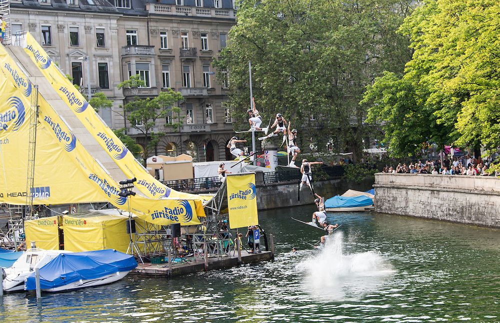 Ski jumping into the Limmat during the Züri Fäscht in July 2013