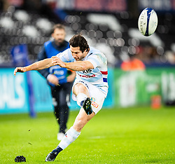 Maxime Machenaud of Racing 92 converts<br /> <br /> Photographer Simon King/Replay Images<br /> <br /> European Rugby Champions Cup Round 3 - Ospreys v Racing 92 - Saturday 7th December 2019 - Liberty Stadium - Swansea<br /> <br /> World Copyright © Replay Images . All rights reserved. info@replayimages.co.uk - http://replayimages.co.uk