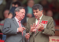 Peter Hill-Wood the Arsenal Chairman and David Dein the Arsenal Vice Chairman. Arsenal v Charlton Athletic. FA Premiership, 26/8/00. Credit: Colorsport.