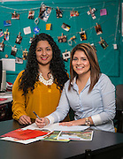 Victoria Salinas, left, and Nataly Degollado, right, pose for a photograph in the college success center at Austin High School, January 23, 2017.