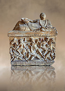 Etruscan Hellenistic style cinerary, funreary, urn ,  National Archaeological Museum Florence, Italy .<br /> <br /> If you prefer to buy from our ALAMY PHOTO LIBRARY  Collection visit : https://www.alamy.com/portfolio/paul-williams-funkystock - Scroll down and type - Etruscan Florence - into LOWER search box. (TIP - Refine search by adding a background colour as well).<br /> <br /> Visit our ETRUSCAN PHOTO COLLECTIONS for more photos to download or buy as wall art prints https://funkystock.photoshelter.com/gallery-collection/Pictures-Images-of-Etruscan-Historic-Sites-Art-Artefacts-Antiquities/C0000GgxRXWVMLyc