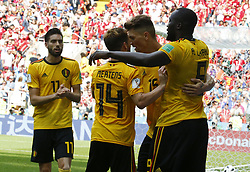June 23, 2018 - Moscou, Russie - Moscow, Russia - June 23 : Romelu Lukaku forward of Belgium, Thomas Meunier defender of Belgium, Dries Mertens forward of Belgium, Yannick Carrasco forward of Belgium during the FIFA 2018 World Cup Russia group G phase match between Belgium and Tunisia at the Spartak Stadium on June 23, 2018 in Moscow, Russia 23/06/2018 (Credit Image: © Panoramic via ZUMA Press)
