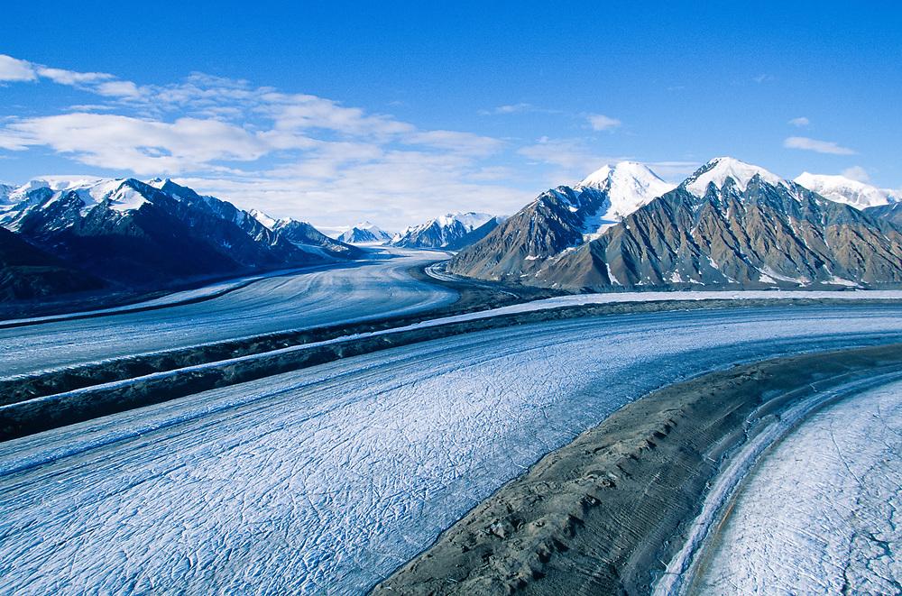 Canada. Yukon / Kluane National Park. Aerial view of Kaskawulsh Glacier streaked with moraine lines.