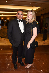 Krishnan Guru-Murthy and his wife Lisa at The Asian Awards, The Hilton Park Lane, London England. 5 May 2017.<br /> Photo by Dominic O'Neill/SilverHub 0203 174 1069 sales@silverhubmedia.com