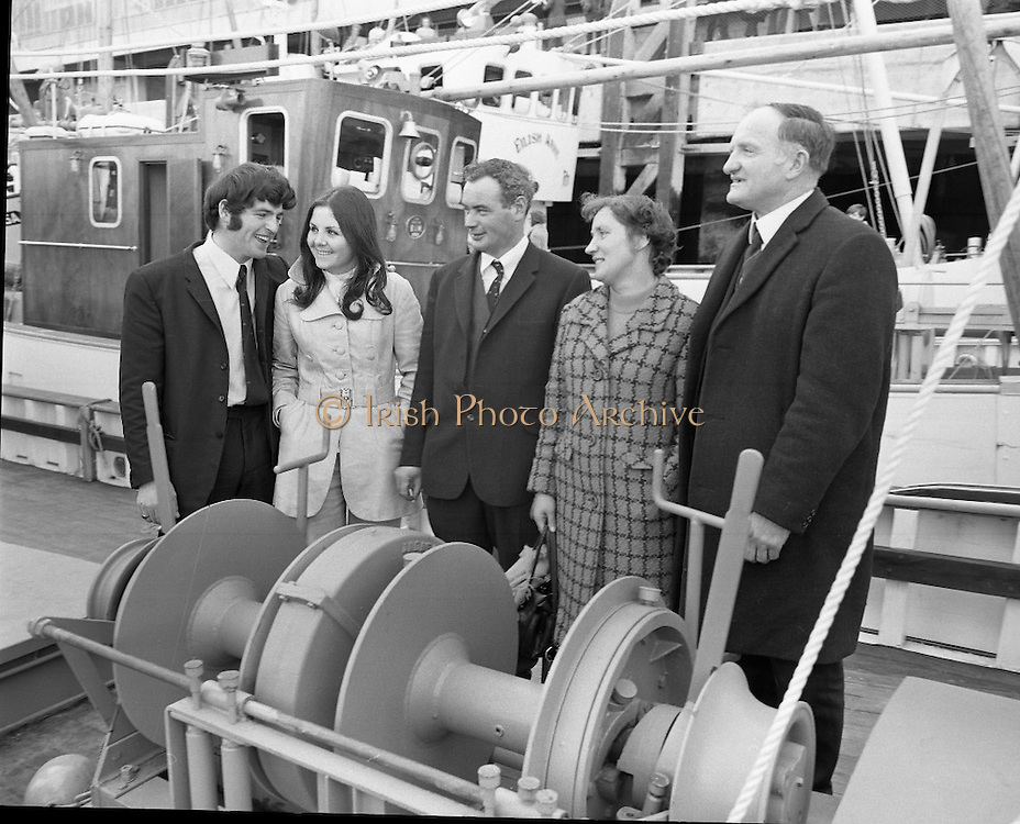 New Fishing Vessels at Dun Laoghaire..1971..26.03.1971..03.26.1971..26th March 1971..After display at the World Fishing Exhibition,three fishing vessels valued at £200,000 were handed over to their respective skippers at Dun Laoghaire harbour. The vessels were built by B.I.M.(Bord Iascaigh Mhara) and represent a cross section of the range of boats built in B.I.M. yards..Pictured at the hand over of the new, BIM built, fishing vessels were (L-R); Mr George Rogan, Mrs Celine Rogan, Mr George Corr,all of Skerries,Mrs Maureen Power and Mr George Power of Kilmore Quay.