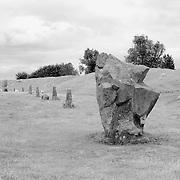 Neolithic Stones, Henge And Grazing Sheep - Avebury, UK - Infrared Black & White