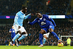 Everton's Romelu Lukaku is closed down by Bacary Sagna of Manchester City  - Mandatory byline: Matt McNulty/JMP - 07966 386802 - 13/01/2016 - FOOTBALL - Etihad Stadium - Manchester, England - Manchester City v Everton - Barclays Premier League
